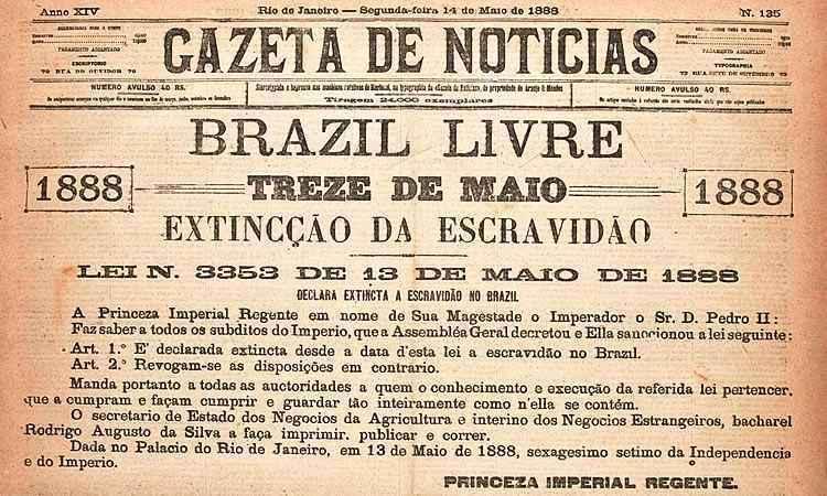 jornal Gazeta de Notícias de 1888 anuncia o fim da escravidão no Brasil