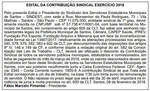 Edital publicado nos dias 10, 11 e 12/02 no jornal Diário do Litoral
