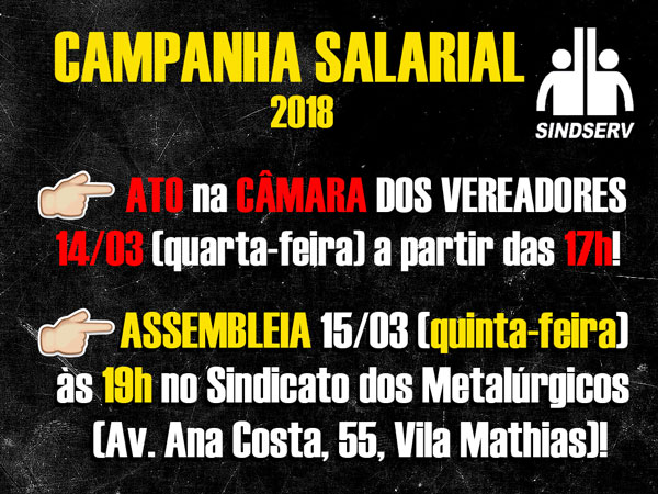Cartaz do ato e assembleia