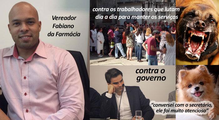 Vereador Fabiano cobra os servidores como um cão feraz e o governo como um cão bonzinho