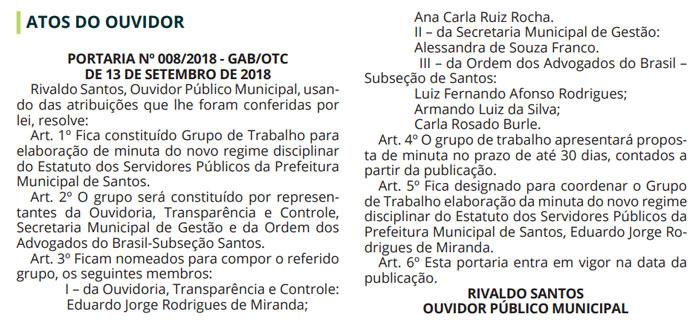 Portaria publicada no Diário Oficial (14/09)