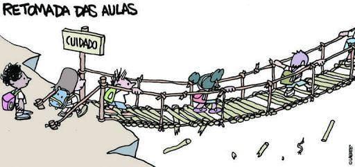 """Charge da Laerte onde crianças atravessam uma ponte toda despencando e o título """"Retomada das aulas"""""""