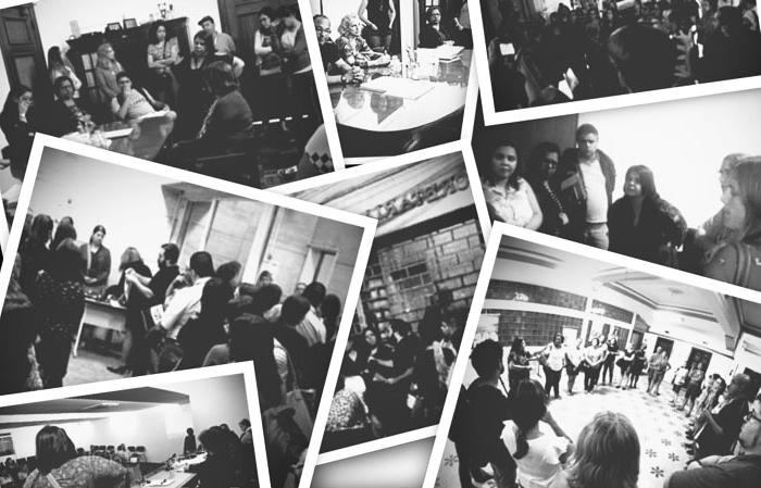 Montagem com várias fotos de atos e reuniões dos professores