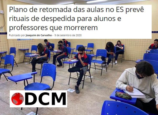 """Título de matéria do DCM diz: """"Plano de retomada das aulas no ES prevê rituais de despedida para alunos e professores que morrerem"""""""