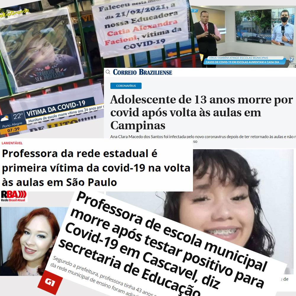 Montagem com manchetes de notícias de professores e alunos mortos por COVID-19 após reabertura das escolas