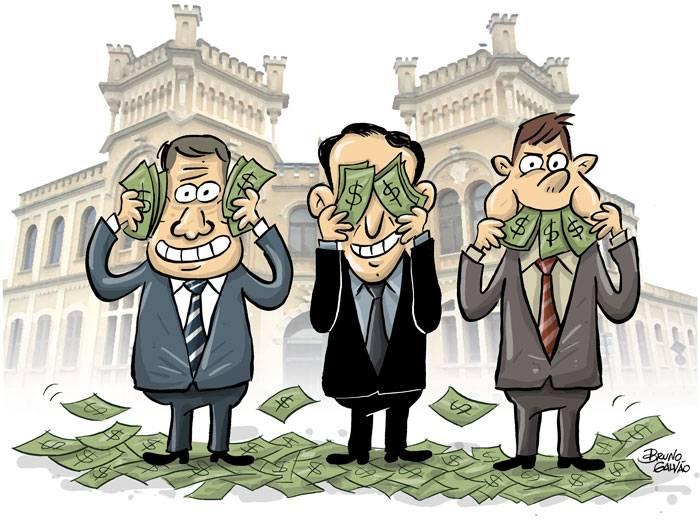 CHARGE: Paulo Alexandre e outros políticos brincam com dinheiro