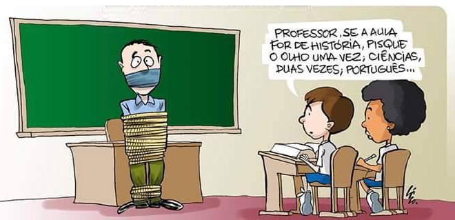 """Charge: Professor todo amarrado e amordaçado e aluno diz """"Professor, se a aula for de história, pisque o olho uma vez; Ciências, duas vezes; Português..."""""""