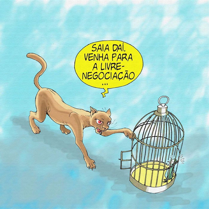 """Charge do Maringoni: """"Saia dai. Venha para a livre-negociação!"""""""