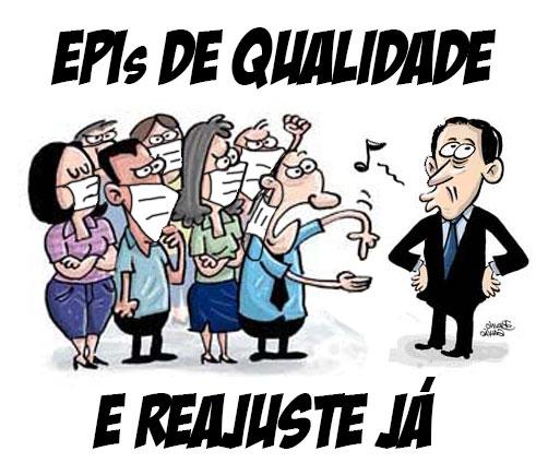 """Charge com os servidores, de máscara, pedem """"EPIs de qualidade e reajuste já"""" enquanto Paulo Alexandre assobia"""