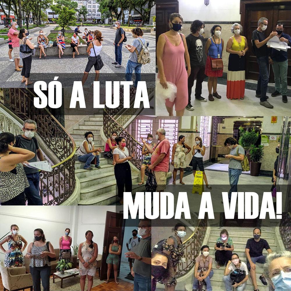 """Montagem com fotos dos trabalhadores da Assistência Social mobilizados com a frase """"SÓ A LUTA MUDA A VIDA!"""""""