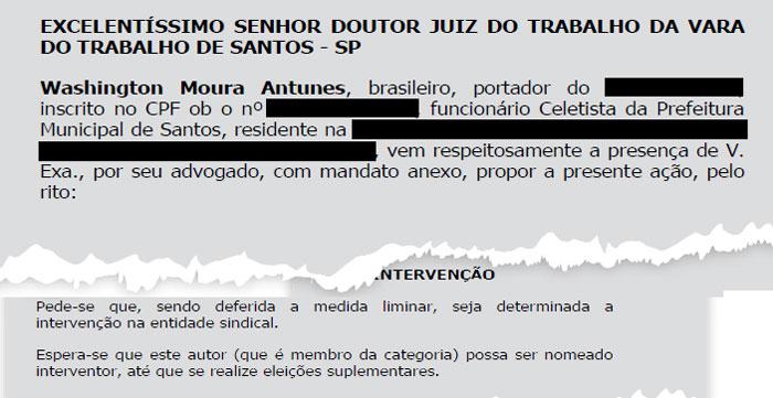 Detalhe do pedido de intervenção do SINDSERV Santos