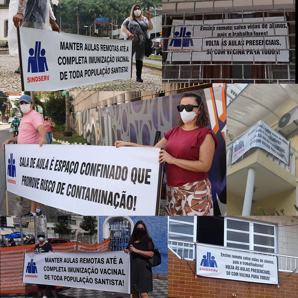 Montagem com fotos de faixas e cartazes na janelas e de pessoas com faixa em favor das aulas 100% remotas