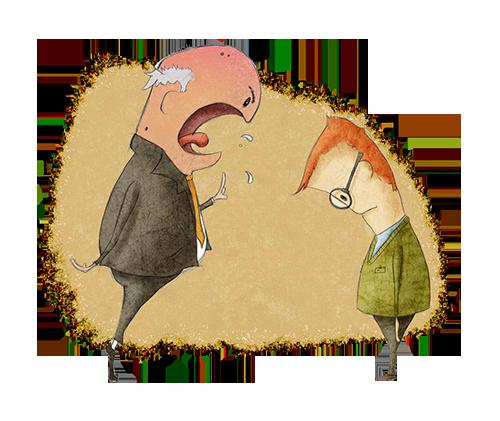 Charge que ilustra o assédio moral: onde aparece uma pessoa aparentemente mais velha gritando com um garoto que abaixa a cabeça