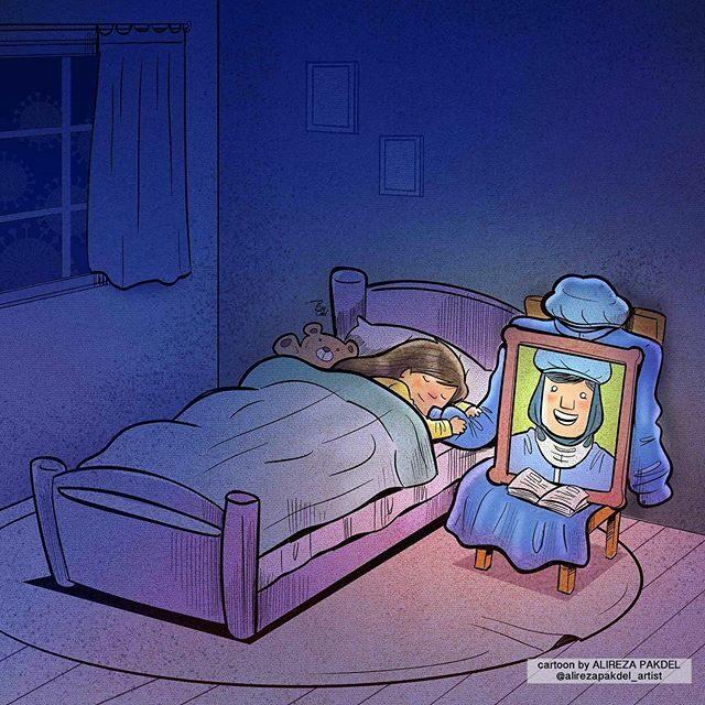 Imagem: Ilustração de Alireza Pakdel no qual uma criança dorme abraçando a manga de um vestido com a foto de uma profissional da saúde.