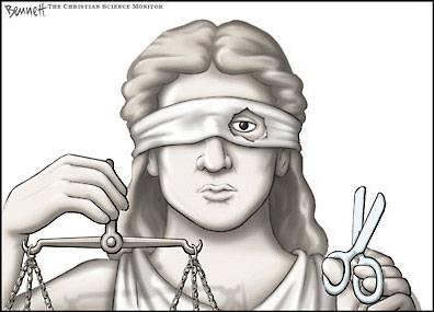 Ilustração: Justiça não tão cega assim