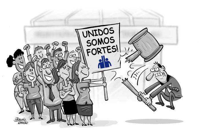 """Charge onde trabalhadores se defendem com uma placa escrito """"UNIDOS SOMOS FORTES (símbolo do SINDSERV Santos)"""" de uma martelada"""