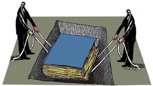 Charge: Dois homens enterrando um livro