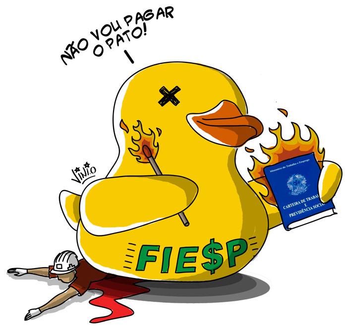 Charge do pato da FIES queimando uma carteira de trabalho