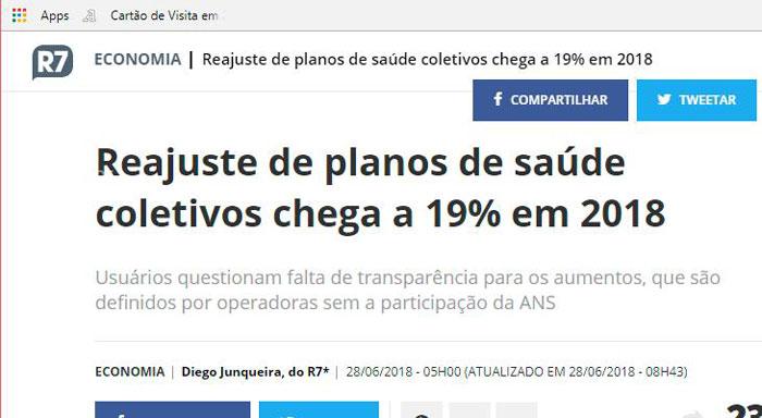 """Manchete: """"Reajuste de planos de saúde coletivos chega a 19% em 2018"""""""