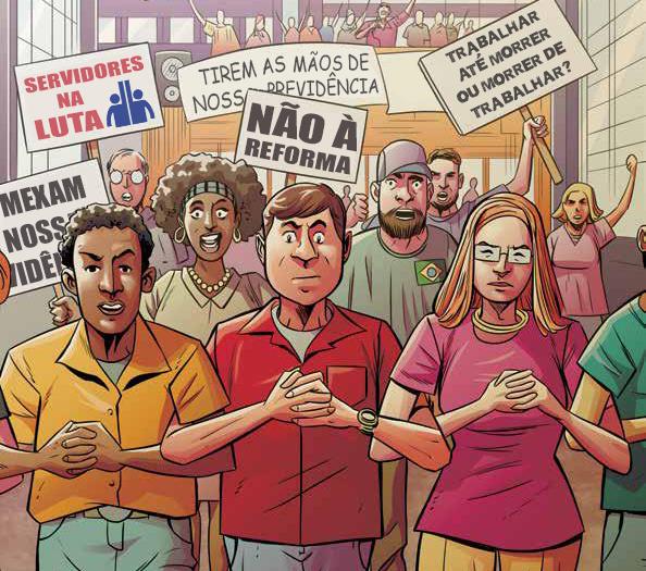 Desenho de trabalhadores em uma manifestação com cartazes contra a Reforma