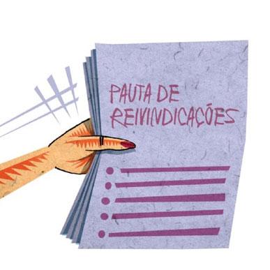"""Ilustração de uma mão com um bloco de folhas onde está escrito """"Pauta de Reivindicações"""""""