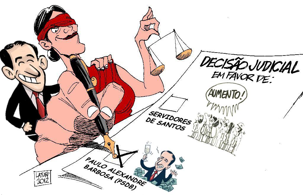 Charde Latuff: Justiça com olho desvendado e ao lado de Paulo Alexandre sorridente dá decisão favorável para ele