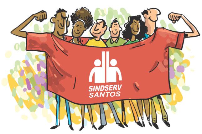 Charge: Servidores em defesa do SINDSERV Santos