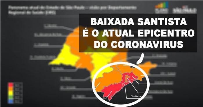 Um dos slides do governo do Estado de SP divulgados hoje mostrando que a Baixada Santista é o epicentro do Coronavírus no Estado